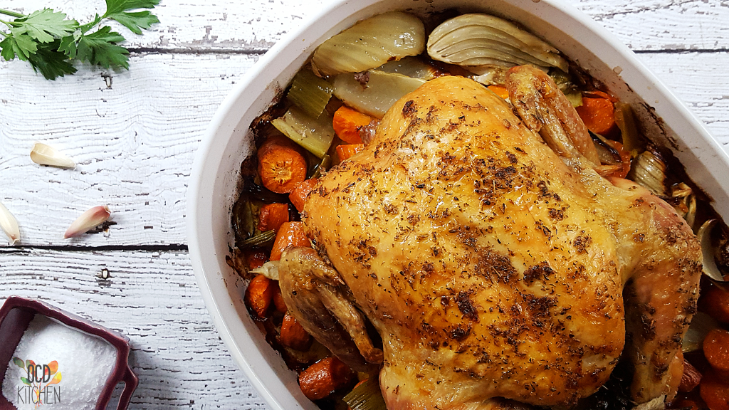 This is one finger licking good whole roast chicken. Better yet make this Sunday and eat good all week! - OCD Kitchen