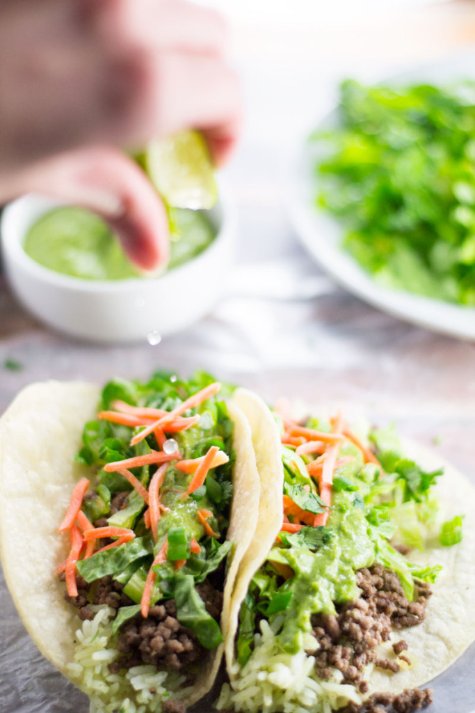 Cumin taco filling with a delicious cilantro lime sauce. Build them anyway you please, in shells, a bowl, or on chips. Anyway you slice it, you'll love it. - OCD Kitchen