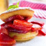 A gluten free strawberry shortcake with a cornbread cake that's been soaked with a homemade basil syrup. Easy to make even easier to eat!